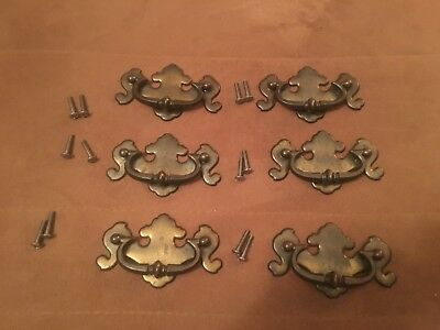 6 vintage Chippendale batwing colonial style drawer pulls brass plated 12 screws