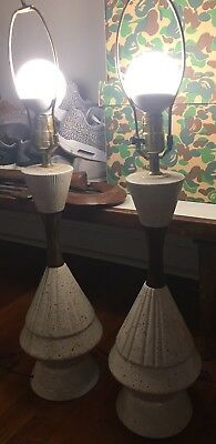 Pair Of White Ceramic Table Lamp Vintage Mid Century Gerald Thurston Style