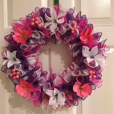 Purple, White and Pink Flowered Deco Mesh Wreath