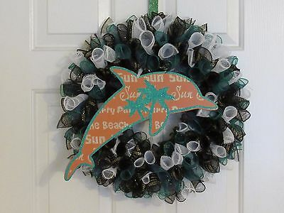 Dolphin Sign Deco Mesh Wreath