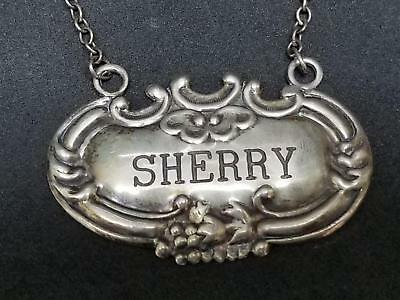 Antique Sterling Silver SHERRY Liquor Label Decanter Tag 9g Watson/Whiting W