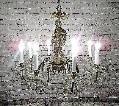 Vintage Antique Chandelier Brass Grand Cherub Crystal Restored Fixture Pendant