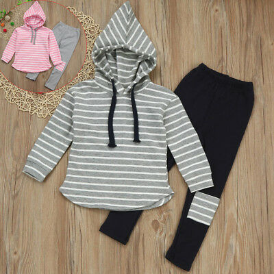 2PCS Kids Toddler Baby Boy Girl Hooded Tops T-shirt Long Pants Tracksuit Clothes