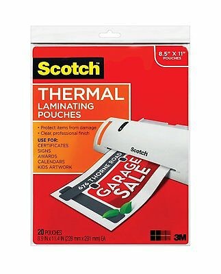 Scotch Thermal Laminating Pouches, 8.9 x 11.4-Inches, 3 mil thick, 20-Pack TP38