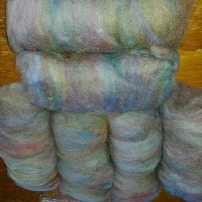 300gm Carded Merino X B L wool for spinning or felting. Pastel rainbow colours