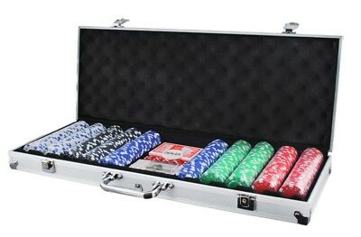 Poker Suitcase with 500 Chips Set Case 0.025 LBS TOKENS CASINO #1754