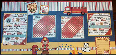 Paper Piecing Fireman Firefighter Fire Station Chief  Hero 2 12x12 pages -KERRIE