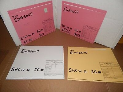 4 SIMPSONS Characters TV Show Folders With Original Animation Art Cel Drawings