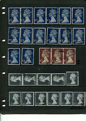 Gb Stamp Collection Of High Value Decimal Parcel Stamps To 5 Pounds Incl Strip