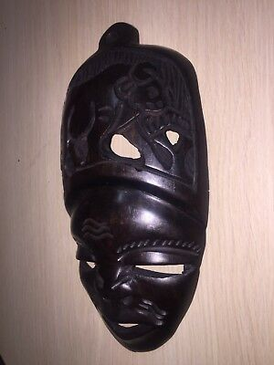 Primitive Wooden Carved African Native - Wood Mask Wood Sculpture Sought Africa