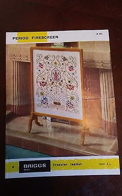 Vtg Briggs Embroidery Transfer firescreen Jacobean Tree of Life gorgeous 19x15.5