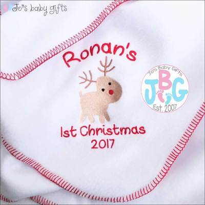 Personalised 1st Christmas Rudolf Baby Blanket, Embroidered design, Baby Gift