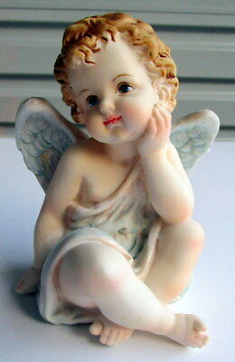 Adorable Ceramic 12Cm Angel Cherub Statue Figurine Ornament Home Nursery Decor