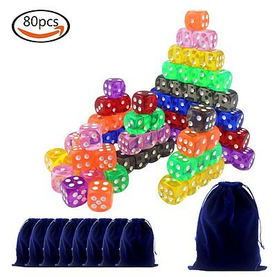 80 Pcs 16mm 6-sided Spot Dice 8 Colors With 8 Dice Bags & 1 Large Flannel Bag