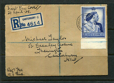 Gb 1948 Silver Wedding Sg494 Fdc One Pound Stamp On Registered First Day Cover