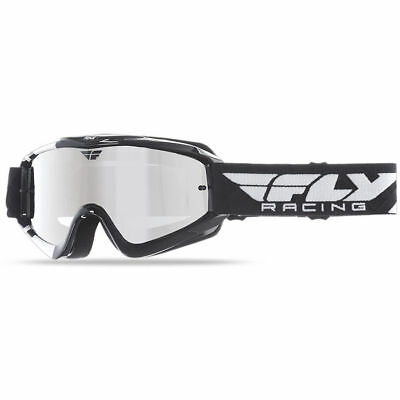 Fly Racing MX Zone Black White Dirt Bike Chrome Tinted Motocross Goggles