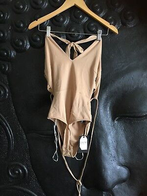 Nude Beige Bodysuit Size 8 BNWT Halter Neck With Lace Up Back Detail