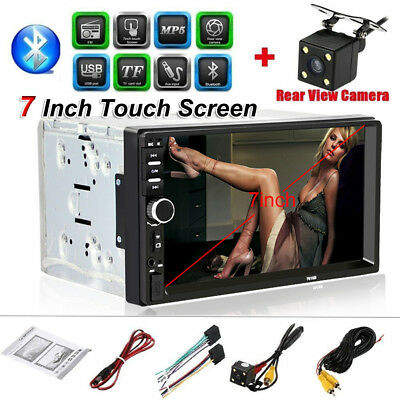 """Double 2DIN 7""""Car HD Stereo Bluetooth Radio MP5 Player FM USB/TF AUX Camera #zxs"""