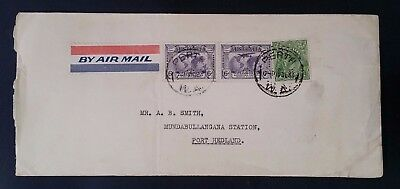 Scarce Air mail cover ties 3 stamps from Perth to MUNDABULLANGANA STATION