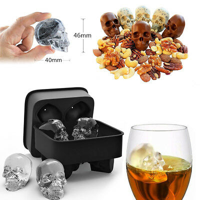 3D Ice Ball Halloween Silicone Cube Tray Skull Shape Mold Chocolate Baking Tool