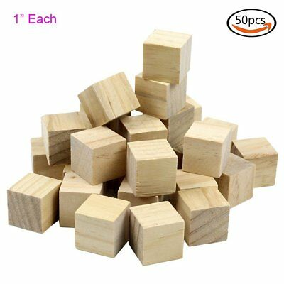 "50pcs 1"" Natural Unfinished Craft Wood Block DIY Craft Wooden Cube Kids Gift Toy"