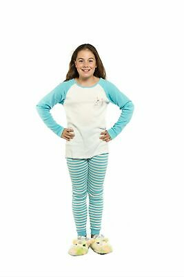 Girls PJS Size 8-14 Winter 2pc Long Set Pyjamas White Blue Unicorn Stripes