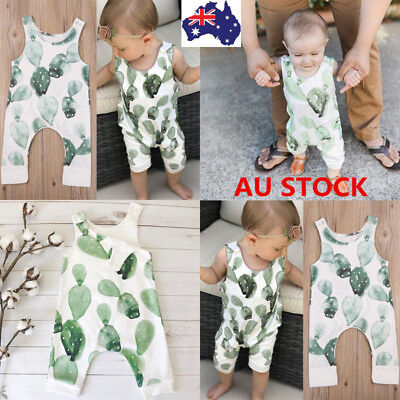 Infant Baby Girl Boy Cactus Romper Bodysuit Side Zipper Jumpsuit Outfit Clothes