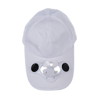 PF Solar Sun Power Hat Cap Cooling Cool Fan - White