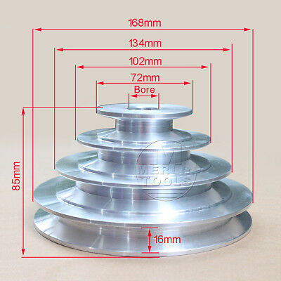 """19 to 24mm Bore V groove 4 Step Pulley For 5/8"""" = 15.8mm Belt width - Select"""