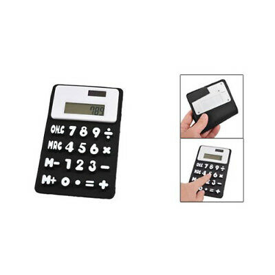 PF New Black White 8 Digits Refrigerator Magnetic Silicone Foldable Calculator