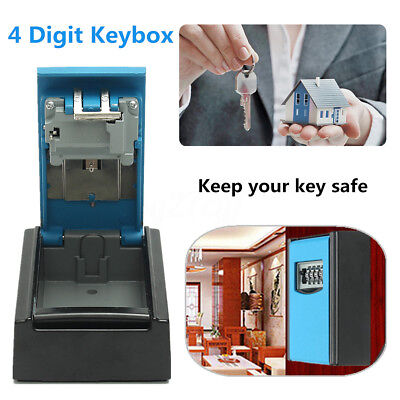 Weather Resistant 4 Digit Wall Mounted Combination Lock Key Safe Box Storage