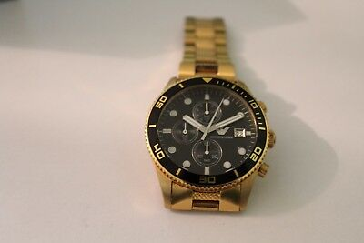 Genuine Emporio Armani AR5857 Men's Gold Black Chronograph Watch