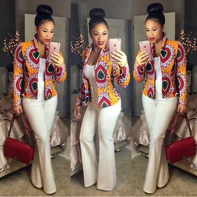 New Women Dashiki Long Sleeve Fashion African Print Short Casual Jacket Cardigan