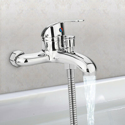 Chrome Water Wall Mounted Dual Spout Mixer Tap Faucet Bath Shower Basin Hot/Cold