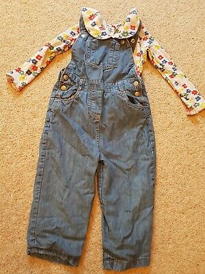 mini boden girls dungarees and top age 2-3