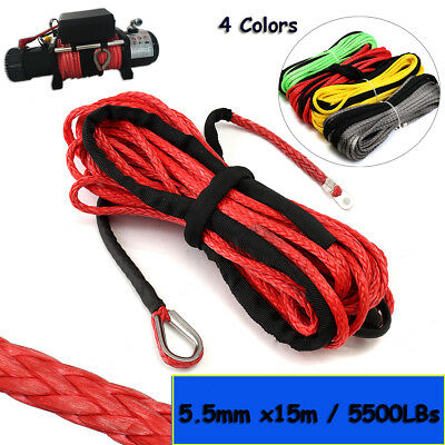 5.5mmx15m Synthetic Winch Line Cable Rope 5500LBS Hook Sheath For ATV UTV SUV