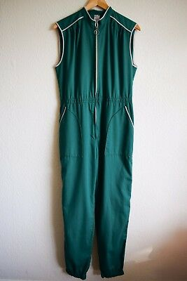 Vintage green jumpsuit size 12, 80s green playsuit