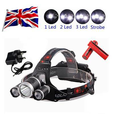 Powerful LED Headlight Torch 12000LM 3x XM-L Waterproof Rechargeable T6 Headlamp