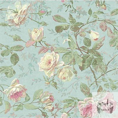 Vintage Blue/Pink Flower Floral Wallpaper Roll Home decor Contact Coatings Paper