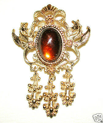 Vintage Magic Mirror Brooch Dragon Guarded Root Beer Cab Dangling Charms Sphinx
