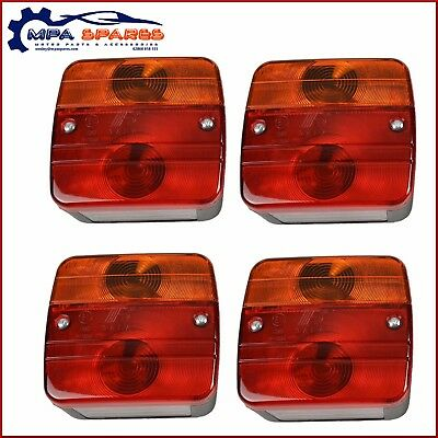 4 X Square Trailer 4 Function Lights - Brake, Number Plate, Indicator