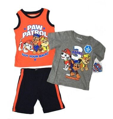 Nickelodeon Paw Patrol Teamwork Toddler Boys Pajamas 3-Piece Set, Size 2T