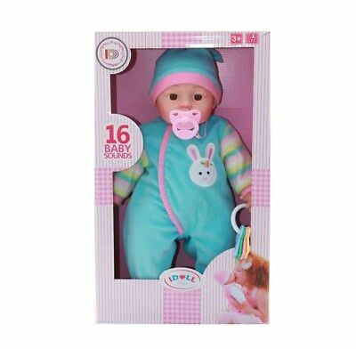 """18"""" New Born Baby Doll With 16 Different Baby Sounds Soft Bodied Baby Doll Gifts"""
