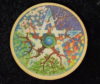 """Wheel of The Year Wooden Altar Tile Hand Made Pagan Wicca Ritual Witchcraft 3"""""""