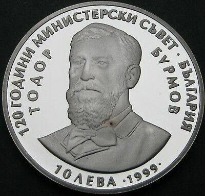 BULGARIA 10 Leva 1999 Proof - Silver - 120 Years Council of Ministers - 2182 ¤