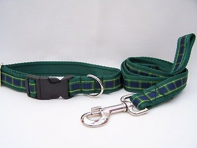 Handmade Gordon Tartan Dog Collar and lead set