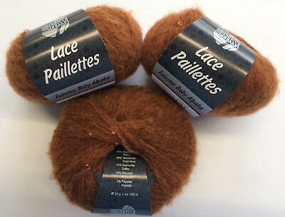 Wolle 25 gramm Lana Grossa Lace Paillettes Farbe 14 rotbraun  1 Knäuel a 25gramm