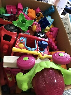 Large Box Of Mega Bloks- Includes Dora, Fire Truck, Fairies, Carriage Plus More