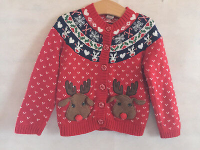 Girls Reindeer Christnas Cardigan - 18-24 Months - Excellent.
