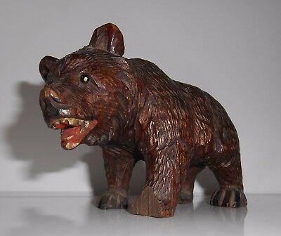 c1880s Antique Carved Swiss Black Forest Wooden Bear With Teeth & Glass Eyes